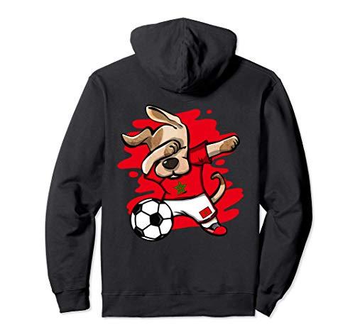 Dabbing Hund Marokko Fußball Mannschaft Marokkanische Flagge Pullover Hoodie