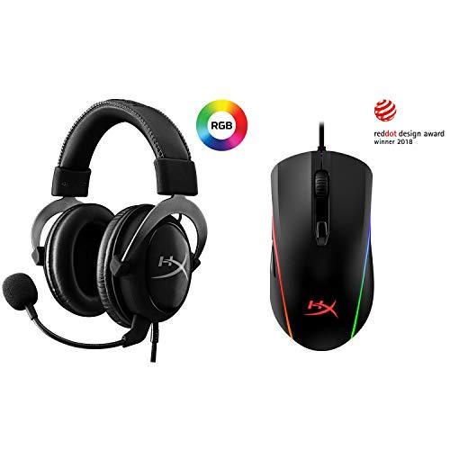 HyperX Cloud II - Gaming Headset, 7.1 Surround Sound, Memory Foam Ear Pads, Durable Aluminum Frame, Gun Metal and HyperX Pulsefire Surge - RGB Gaming Mouse, 360° RGB Light Effects, Macro Customization