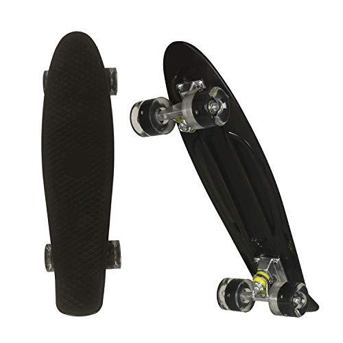 Outcamer Skateboard, 56 cm, Retro-Stil, Kunststoff-Board, komplettes Cruiser-Penny-Board für Jugendliche, Erwachsene, Anfänger, Mädchen, Jungen, Kinder, Schwarz