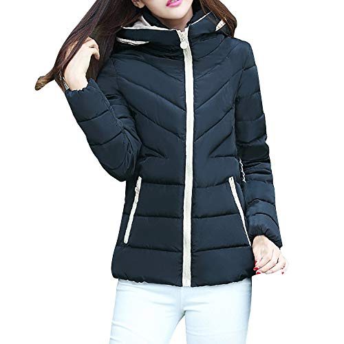 OSYARD Damen KurzeJacke Wintermantel Kapuzenjacke mit Reißverschluss Outwear Regenjacke Einfarbig, Frauen mit Kapuze Verdickung Slim Outwear Winter Warme KurzeJacke Lady Coat