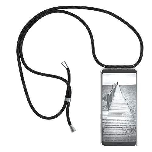 EAZY CASE Handykette kompatibel mit Samsung Galaxy A9 (2018) Handyhülle mit Umhängeband, Handykordel mit Schutzhülle, Silikonhülle, Hülle mit Band, Stylische Kette mit Hülle für Smartphone, Schwarz