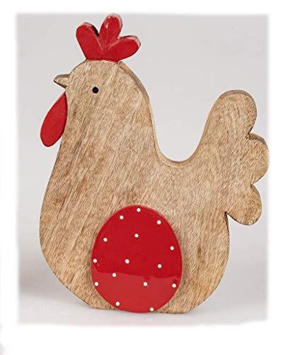 Geschenke und Dekoration zu Ostern- Deko Huhn mit Ei 25cm aus massivem Mango-Holz