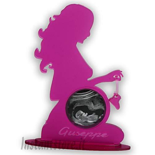 Porta ecografia donna incinta personalizzata in plexiglass con foto e incisione nome