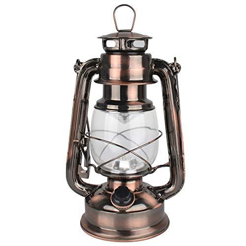 Farol LED Hurricane vintage, luz blanca cálida, funciona con pilas, de metal antiguo, con interruptor, 15 ledes, 150 lúmenes, para uso interior o exterior (cobre)