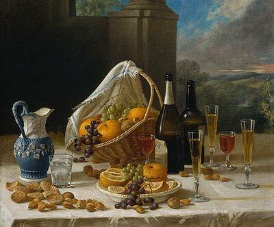 Luncheon Still Life John F. Francis Essen vino uvas Frutero