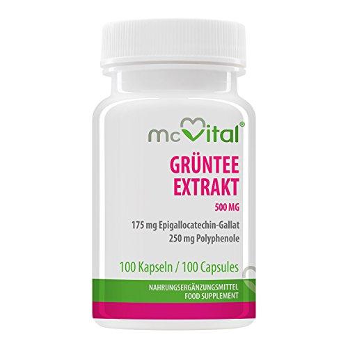 McVital Grüntee Extrakt 500 mg • 100 Kapseln • 175 mg EGCG, 250 mg Polyphenole • Made in Germany