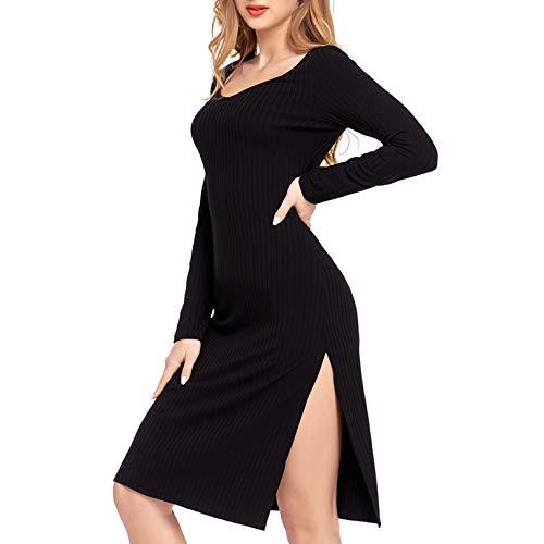 Damen Side Split Kleid Gestricktes Kabel Jumper Kleid U-Ausschnitt Langarm Damen Rippenpullover Freizeitkleid Strickwaren - Schwarz, XL