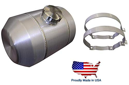 8x12 Center Fill Round Spun Aluminum Gas Tank - 2.5 Gallon - Motorcycle - Tractor Pulling - Ratrod - Dune Buggy - Trike - Baja Bug - 3/8 NPT - Made in the USA!