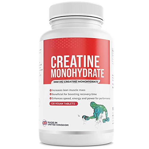 Creatine Monohydrate (1000mg) - 120 Tablets - Enhance Muscle Gain & Performance - Vegan Friendly - Made in UK