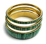 Set de 3 brazaletes verde y oro