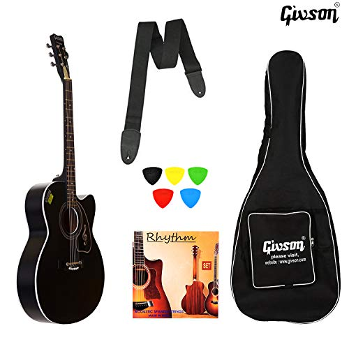 GIVSON KETOSTICS Venus VS-BLK, Right Handed 6 Strings Acoustic Guitar with Cover/Bag (Black)