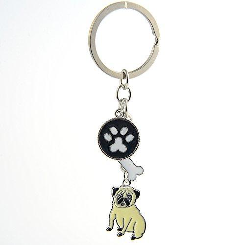 Zoonpark®-Hunde-Schlüsselanhänger, süßer kleiner Hunde-Schlüsselring, aus Metall, Metall, mops, Small