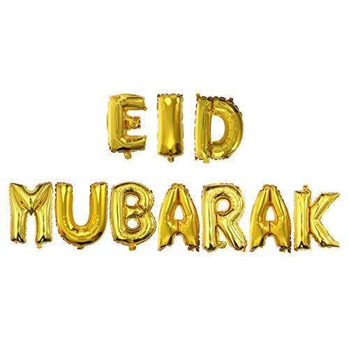 Amosfun Eid Mubarak Festival Party Decoration Set Includes Eid Mubarak Foil Balloons 24Pcs Latex Balloons for Home Ramadan Kareem Decor Party Supplies
