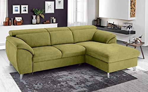 Dafne Italian Design - Sofá cama esquinero de 3 plazas con chaise longue a la derecha, tejido Romeo verde ácido (269 x 175 x 94 cm)