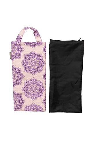 Yogasandsack, Jute/Baumwolle, ungefüllt, für Yoga-Gewichte und Widerstandstraining, Farbe: Natur/Violett, Größe: 19,1 x 43,2 cm