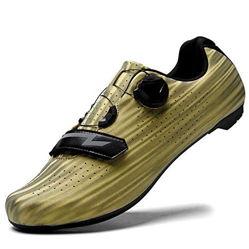 Charmstep Rennrad Fahrradschuhe Herren Damen Anti-Skid Atmungsaktiv MTB Radsportschuhe Ohne Klicksystem Radschuhe,Gold,46 EU