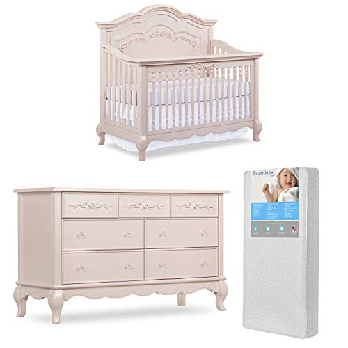 Evolur Aurora 5-in-1 Convertible Crib & Tall Chest with Free 260 Coil Crib/Toddler Mattress