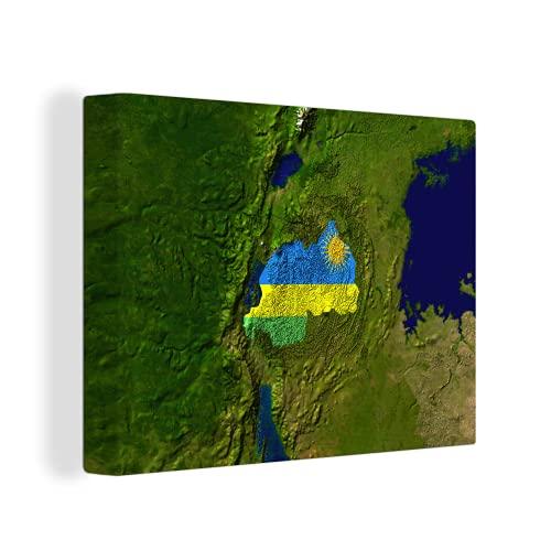 Leinwandbild - Satellitenbild von Ruanda mit der Flagge des Landes darüber - 120x90 cm