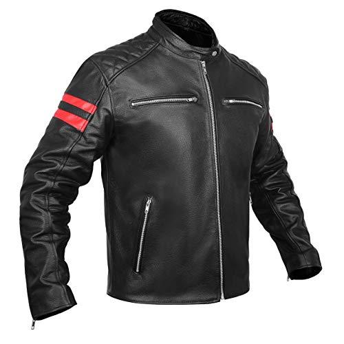 LEATHER ARMOR MOTORCYCLE BIKER JACKET FOR MEN BLACK GLIDE CRUISER SPORTSTER CAFE RACER (BLACK/RED, 3X-LARGE)