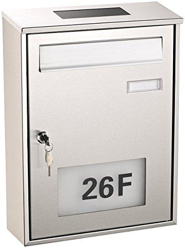 Lunartec Postkasten: Edelstahl-Briefkasten mit Solar-Leucht-Hausnummer (Briefkasten beleuchtet)