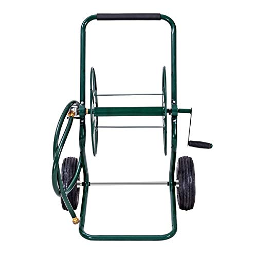Goplus Garden Hose Reel Cart Water Hose Holder Steel Frame for Planting