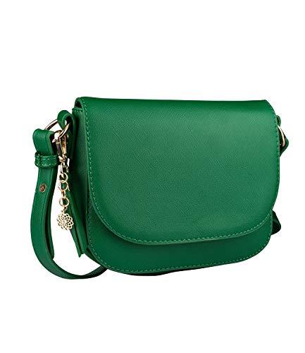 SIX Damen Handtasche, Minibag in dunklem Grün mit goldenen Details, Umhängetasche mit Klappverschluss, goldenen Mandala Anhänger (726-627)