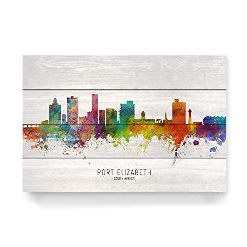 artboxONE Holzbild 60x40 cm Städte Port Elizabeth Skyline txt von Künstler Michael Tompsett