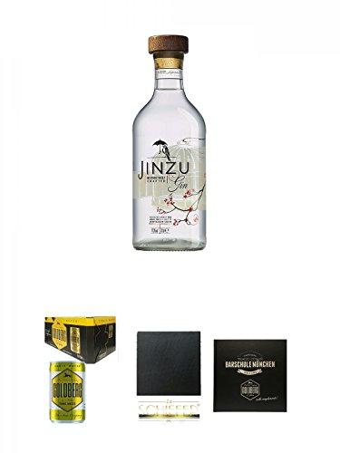 Jinzu Gin 0,7 Liter + Goldberg Tonic Water DOSE 8 x 0,15 Liter Karton + Schiefer Glasuntersetzer eckig ca. 9,5 cm Durchmesser + Barschule München Buch
