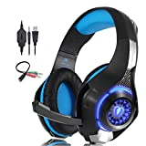 QAZWSX Auriculares para Juegos para PS4 LED Auriculares Profesionales con micrófono, Reducción de Ruido de Confort Crystal Clarity, para Xbox One PC Laptop Tablet Mac Smart Phone-Blue