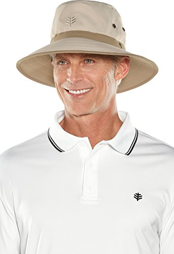Coolibar UPF 50+ Men's Women's Matchplay Golf Hat - Sun Protective (Large/X-Large- Tan/Khaki)