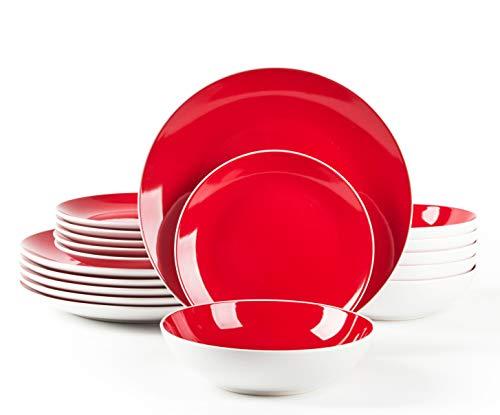 HomeVss, Stoneware Coupe Shape 18pc Dinnerware Set, Outside White + Inside Red