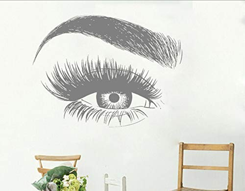 Ponana Cils Pour Les Yeux Autocollant Sticker Cils Sourcils Sourcils Citation Salon De Beauté Maquillage Vinyl Girl Room Stickers Muraux 56X74Cm B