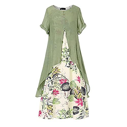 Damska bawełniana lniana sukienka w stylu vintage, czeskie letnie sukienki z krótkimi rękawami Plus rozmiar Casual kwiatowy print długie sukienki plażowe (Color : Green, Size : XXXX-Large)