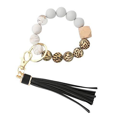 AC1 Silicone Key Ring Bracelet, Women Beaded Bangle Keychain Wristlet Leather Tassel