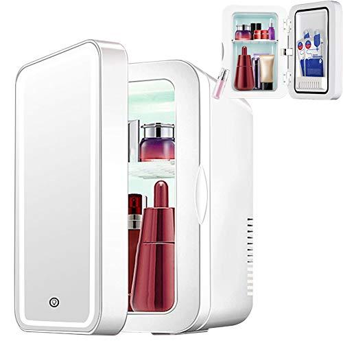 Tragbarer Kosmetik-Kühlschrank, Mini-Beauty-Kühlschrank, kompakt, leise, mit LED-Licht, Make-up-Spiegel, kleiner Auto-Gefrierschrank, zur Aufbewahrung von Make-up, Hautpflegeprodukten