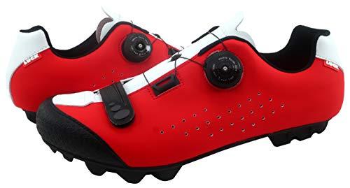 LUCK Zapatillas de Ciclismo MTB ÍCARO con Suela de Carbono y Sistema rotativo de precisión acompañada de un Velcro. (46 EU, Rojo)