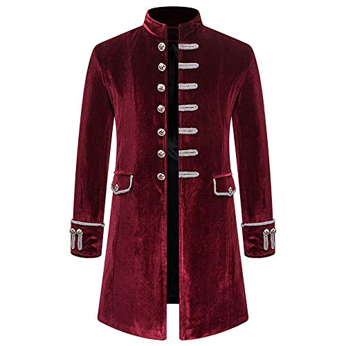 BEIXUNDIANZI Mantel Jacke Männer Langarm Gothic Gehrock Uniform Kostüm Party Oberbekleidung Langer Uniformkleid Vintage Punk Stil Karneval Uniform Cosplay Kostüm Outwear Red XL