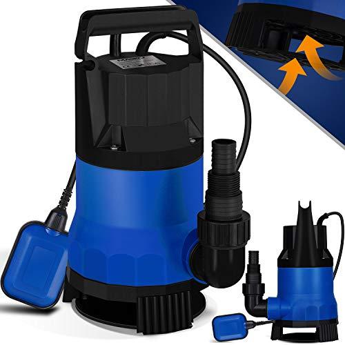 MASKO® Schmutzwasserpumpe Tauchpumpe 750 W 13.500 l/h max. Förderhöhe 9m Fremdkörper Schwimmerschalter Wasserpumpe Tauchdruckpumpe Brunnenpumpe Gartenpumpe, Blau