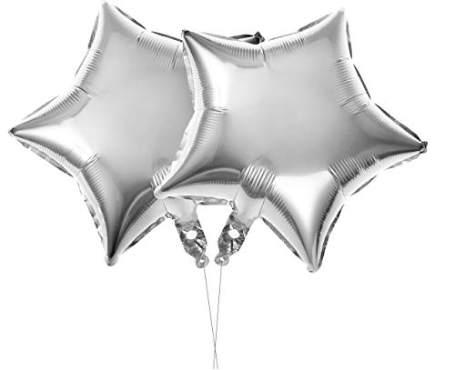 TOYMYTOY Luftballons Geburtstag Party Dekoration,Sterne Folie Ballon für Valentins Tag Hochzeit Geburtstag Party Supplies,10er(Silber)