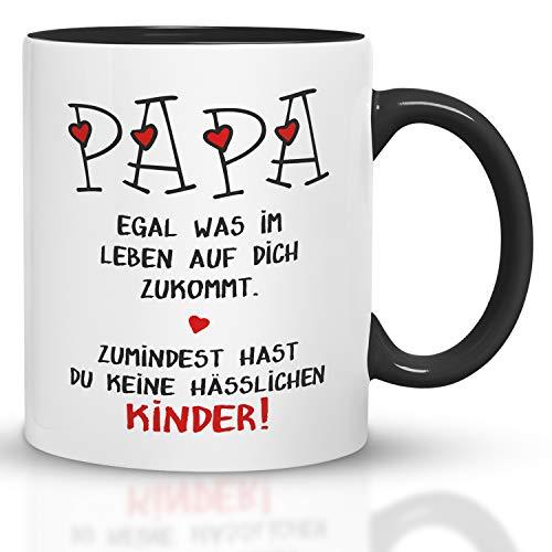 Kaffeebecher24 - Geschenk Vatertag - Tasse Papa hässliche Kinder - Spülmaschinenfest Geschenke für Papa - Tasse lustig - Vatertagsgeschenk Tasse - schwarz