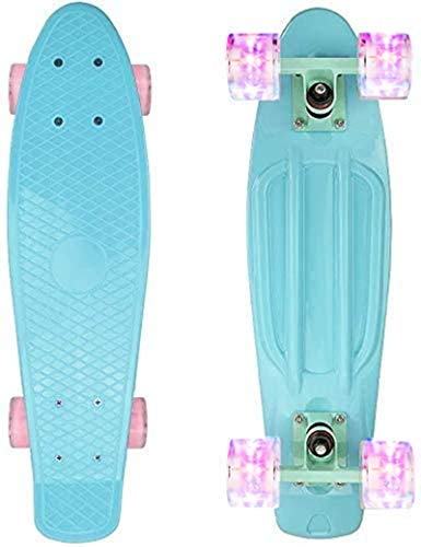 nordmiex Complete 22inches Cruiser Skateboards for Beginners - Kids Skateboard with Colorful LED Light Up Wheels for School and Travel