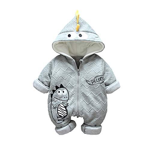 DorkasDE Baby Strampler Junge Mädchen Overall Jumpsuit Winter Babykleidung mit Kapuze (Größe 66 (Höhe 56-65cm), Grau Monster)