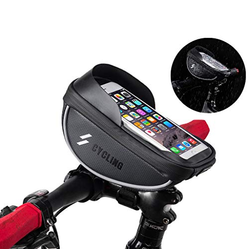 Bike Phone Front Frame Bag - Waterproof Bicycle Top Tube Cycling Phone Mount Pack with Touch Screen Large Capacity Phone Case for Cell Phone Below 6' iPhone 7 8 Plus xs max