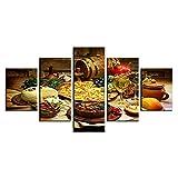 Cuadro Sobre Lienzo - 5 Piezas - Impresión En Lienzo Cartel De Comida Y Bebida De Frutas Para Cocina De Restaurante Cuadro De Pintura Póster De Arte Moderno Oficina Sala De Estar O Dormitorio 150X80Cm