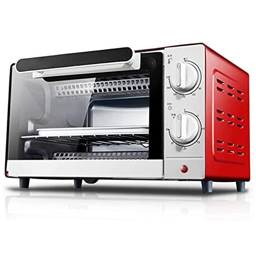 YUEDAI 10L Mini tostadora Horno de tostadora Cocina para Hornear Horno eléctrico portátil 220V 1000W 30 Min Timer 90-230  Tubo de Calentamiento de Acero Inoxidable Incluido Rojo
