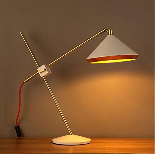 Desk Lamps AL Lampes de Bureau Mode américaine rétro étude Oeil Table Lampe créative Chambre lit Fer réglable Lampes sur la Table de Lampe de Table (Couleur : Blanc)