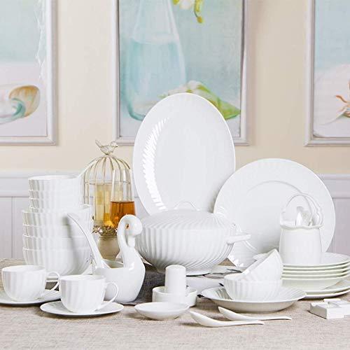 YANJ Juego de vajilla de cerámica con 56 Piezas, Cuenco/Olla/Plato/Cuchara | Juegos de vajilla de Porcelana China, Platos Combinados de Porcelana en Relieve