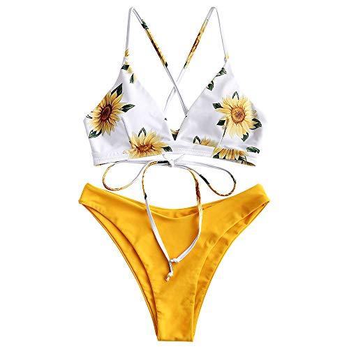 ZAFUL Women's Spaghetti Straps Sun and Moon Lace Up Two Pieces Bikini Set (Sunflower+Yellow, S)