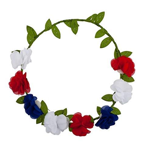 Lux Accessories Americana July 4th Flower Floral Garland Wreath Flower Crown