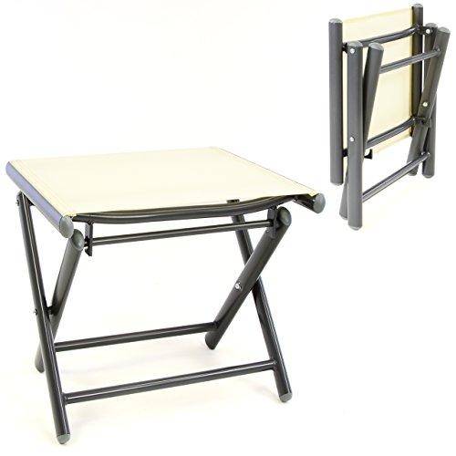 SONLEX Sitzhocker Campinghocker klappbar Fußteil aus Aluminium + Textilene Creme pulverbeschichtet Rahmen dunkelgrau Sitzhöhe 40 cm für Balkon Terrasse